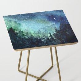 Galaxy Watercolor Aurora Borealis Painting Side Table