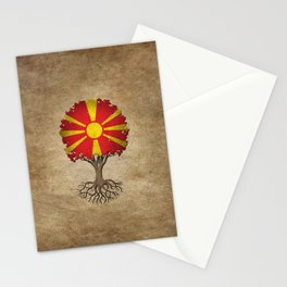 Vintage Tree of Life with Flag of Macedonia Stationery Cards