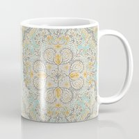 bedding Mugs featuring Gypsy Floral in Soft Neutrals, Grey & Yellow on Sage by micklyn