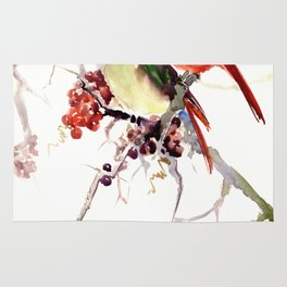 Cardinal Birds, birds art, two bird artwork cardinal bird Rug