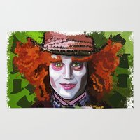 mad hatter Area & Throw Rugs featuring Mad Hatter by grapeloverarts