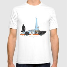 Outline Series N.º4, Steve McQueen, Porsche 917, Le Mans movie 1971 White Mens Fitted Tee SMALL