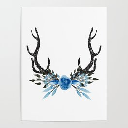 Floral Deer Antler Poster