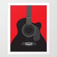 Musician Collection-Black Acoustic Guitar (Black/Red) Art Print