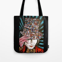 willy wonka Tote Bags featuring Johnny Depp as Willy Wonka by Portraits on the Periphery