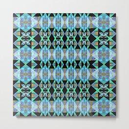 Electric Blue Green Diamond Geometric Power Print Metal Print