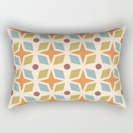 Mid Century Modern Abstract Star Dot Pattern 441 Orange Brown Blue Olive Green Rectangular Pillow