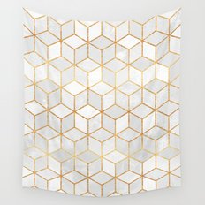 White Cubes Wall Tapestry