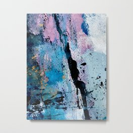 Breathe [3]: colorful abstract in black, blue, purple, gold and white Metal Print