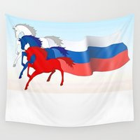 russia Wall Tapestries featuring Horse flag of Russia by Pavlo Tereshin
