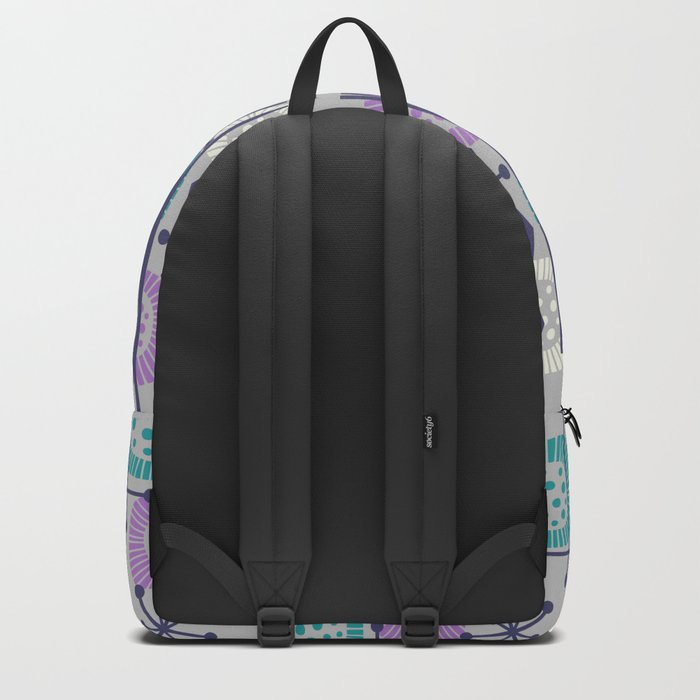 Retro Atomic Mid Century Pattern Grey Teal Blue and Lavender Backpack