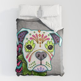 Boxer in White- Day of the Dead Sugar Skull Dog Comforters