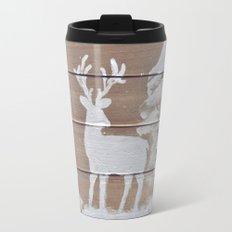 Wood slat deer in the snowy woods Travel Mug
