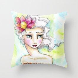 Lotus Flower Girl Throw Pillow