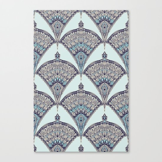 Deco Doodle in Aqua, Cream & Navy Blue Canvas Print