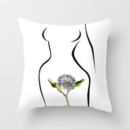 The woman and flower Throw Pillow