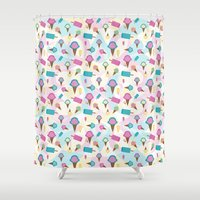 icecream Shower Curtains featuring Icecream dream by The Tattooed Geisha
