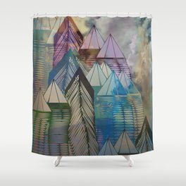 Triangular Endings on the Top Above the Clouds / Urban 04-11-16 Shower Curtain