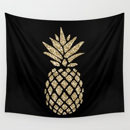Gold Glitter Pineapple Wall Tapestry