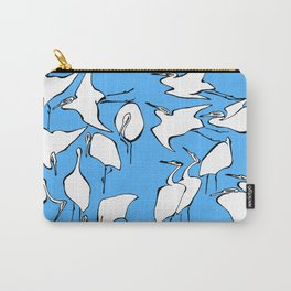 """Katsushika Hokusai """"Cranes from Quick Lessons in Simplified Drawing"""" (1823)(edited) Carry-All Pouch"""