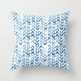 Blue Chevron Watercolour Throw Pillow