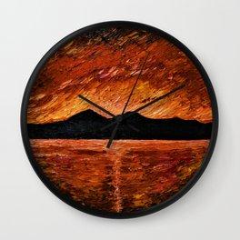 FIERY SUNSET AT MURLOUGH - Oil  Painting Wall Clock