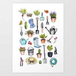 Garden Gear - Spring Gardening Pattern w/ Garden Tools & Supplies Art Print