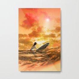 SURFING IN ORANGE CRUSH Metal Print