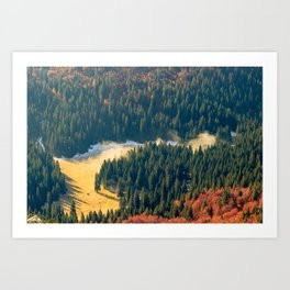 Fog rolling on a lonely autumn field Art Print