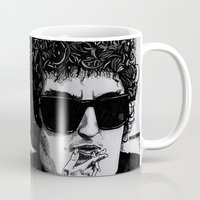 dylan Mugs featuring Bob Dylan by Drawn by Nina
