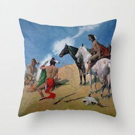 "Frederic Remington Western Art ""Smoke Signals"" Throw Pillow"