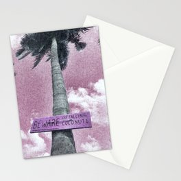 Beware of Falling Coconuts, Thailand Beach, Pink Decor Stationery Cards