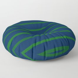 Slate Blue and Emerald Green Stripes Floor Pillow