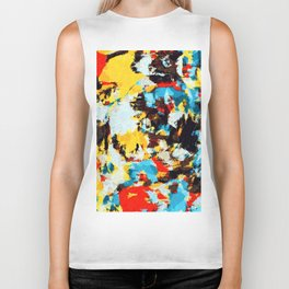 psychedelic geometric splash abstract pattern in blue red yellow brown Biker Tank