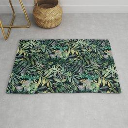 Jungle moody tropical flora watercolor Rug