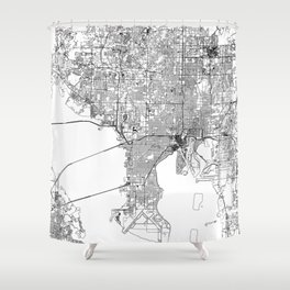 Tampa White Map Shower Curtain
