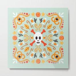Skull Mandala Blue Metal Print