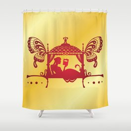 Bridal Palanquin India.doli silhouette Shower Curtain