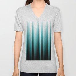 Aqua Teal Turquoise & White Abstract Soft Ombre Line Stripe Pattern on black - Aquarium SW 6767 Unisex V-Neck