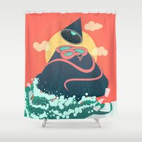 anaconda Shower Curtains featuring Snake On Crystal Mountain by chyworks