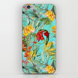Vintage & Shabby Chic - Colorful Tropical Blue Garden iPhone Skin