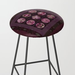 Red Shiso Positive Messages Quilt Art Bar Stool