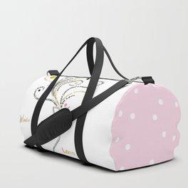Typographic Reindeer Love - White Duffle Bag