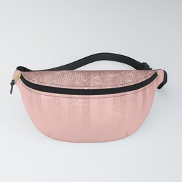 Glamorous Pink Rose Gold Glitter Striped Gradient Fanny Pack