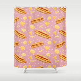Hot Dogs and Chips - on Pink Shower Curtain
