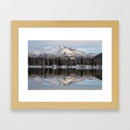 Broken Top sunrise reflection Framed Art Print