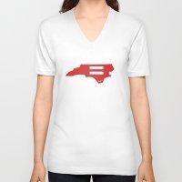 north carolina V-neck T-shirts featuring North Carolina Love by Tank Top Sunday