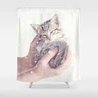 onesie Shower Curtains featuring In Safe Hands by Amy Tyler