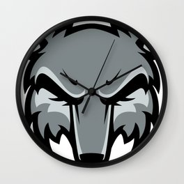 Gray fox head Wall Clock