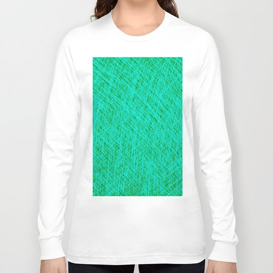 Expressive Blue (Abstract green and cyan) Long Sleeve T-shirt